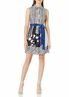 Donna Ricco Women's Sleeveless Shirt Dress W Stripes/Polka Dots and Belted
