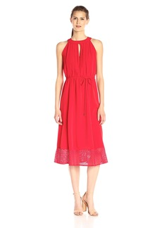 Donna Ricco Women's Sleeveless Solid Crepe Dress with Keyhole on Neck