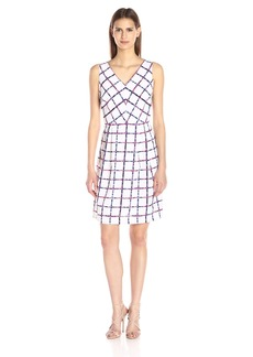 Donna Ricco Women's Sleeveless Windowpane-Printed Fit-and-Flare Dress