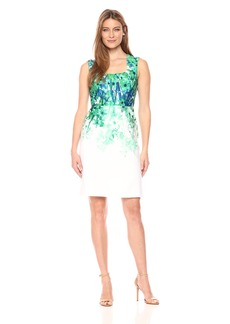 Donna Ricco Women's Square Neck Sleeveless Floral Printed Cotton