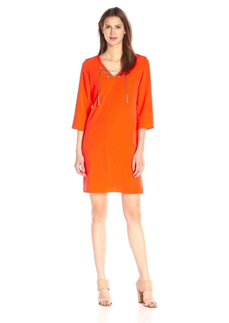 Donna Ricco Women's Three-Quarter Sleeve Solid Sheath Dress