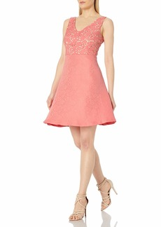 Donna Ricco Women's V-Neck Jacquard Fit-and-Flare Dress
