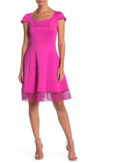 Donna Ricco Dotted Crochet Hem Dress