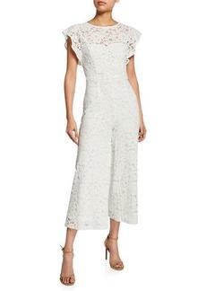Donna Ricco Floral Lace Culottes Jumpsuit