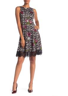 Donna Ricco Floral Print Crochet Lace Scuba Dress