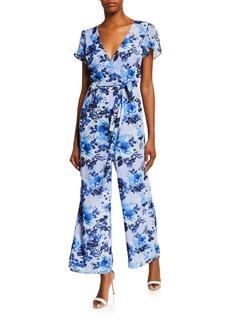 Donna Ricco Floral-Print Faux Wrap Jumpsuit