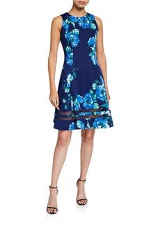 Donna Ricco Floral-Print Scuba A-Line Dress