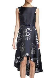 Donna Ricco Floral-Taffeta High-Low Cocktail Dress