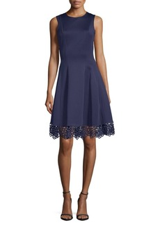 Donna Ricco Lace Hem Fit-&-Flare Dress