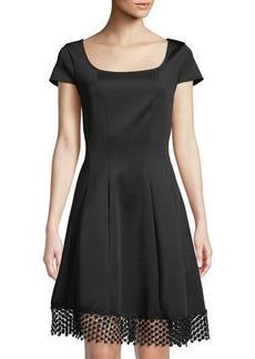 Donna Ricco Lace-Hem Square-Neck Dress