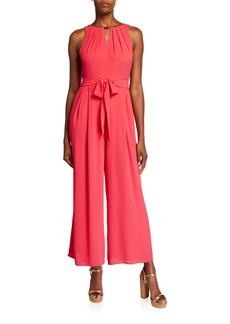 Donna Ricco Pleated Necklace Wide Leg Jumpsuit