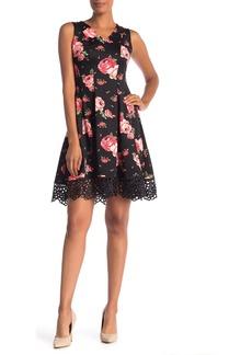 Donna Ricco Rose Print Scuba Crochet Lace Dress