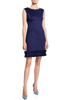 Donna Ricco Ruffle Pleated Sleeveless Sheath Dress