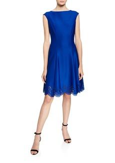 Donna Ricco Scallop Laser-Cut Fit-&-Flare Dress