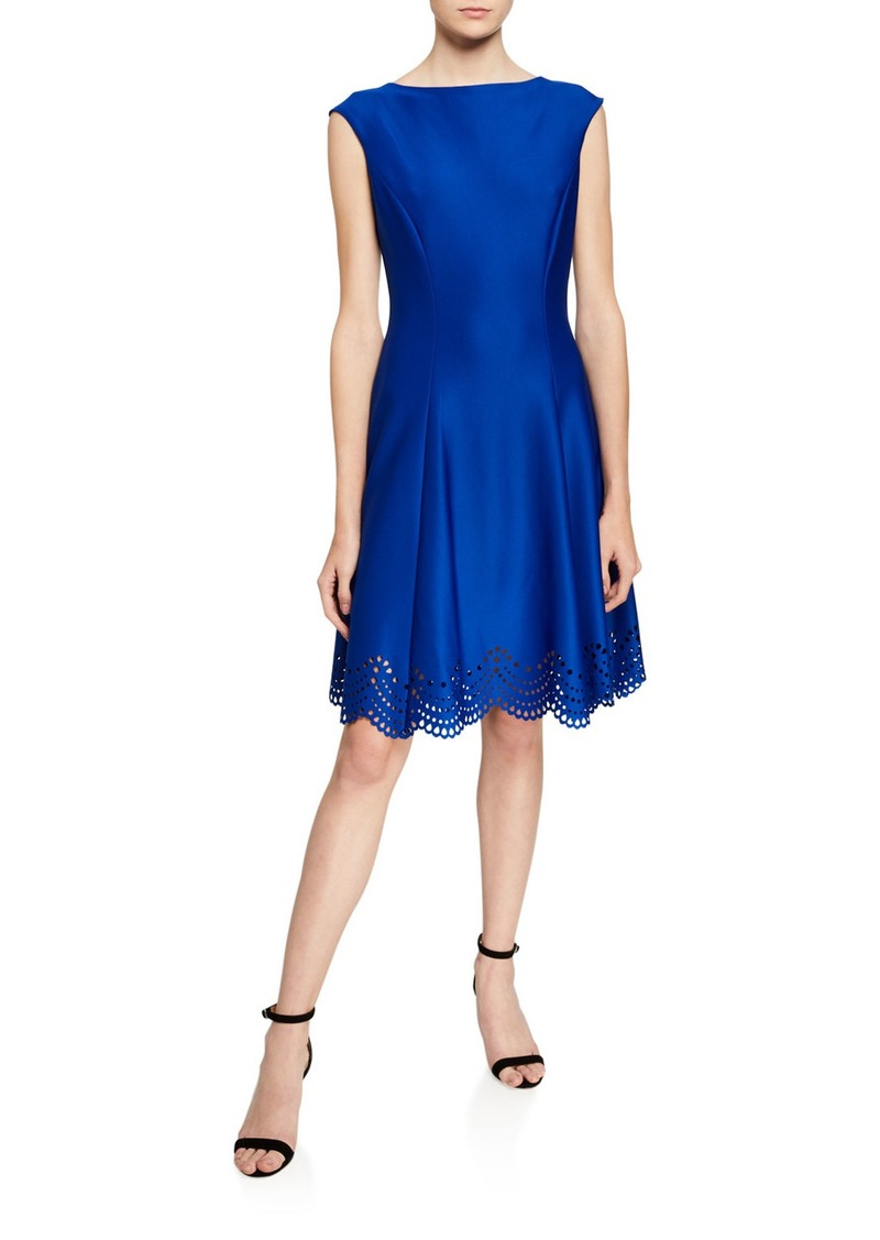 Donna Ricco Scallop Laser-Cut Fit-&-Flare Dress