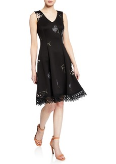Donna Ricco Scuba Floral Embroidered Fit-&-Flare Dress