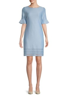 Donna Ricco Scuba Laser-Cut Bell-Sleeve Dress