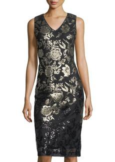 Donna Ricco Sequined V-Neck Dress