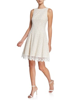 Donna Ricco Sleeveless Lace Fit-and-Flare Dress
