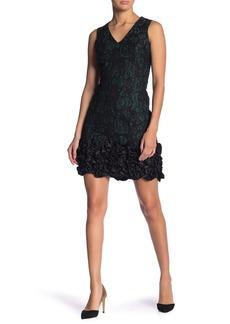 Donna Ricco Sleeveless Lace Ruffled Dress