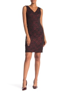Donna Ricco Sleeveless Stretch Brocade Dress