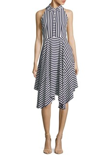 Donna Ricco Stripe Buttoned Sleeveless Dress
