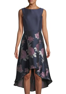 Donna Ricco Taffeta Floral-Skirt High-Low A-Line Cocktail Dress