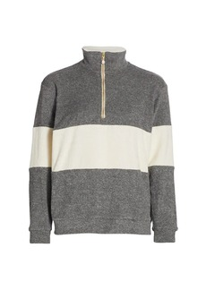 DONNI Rugby Stripe Terry Half-Zip Pullover