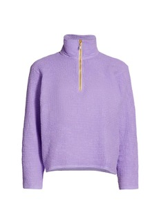 DONNI Waffle Knit Half-Zip Pullover