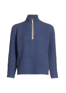 DONNI Waffle-Knit Half-Zip Pullover