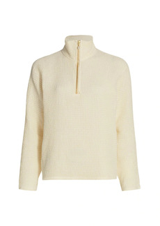 DONNI Waffle-Knit Zip Pullover