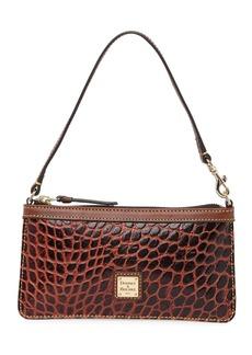 Dooney & Bourke Croc Embossed Leather Large Slim Wristlet Bag