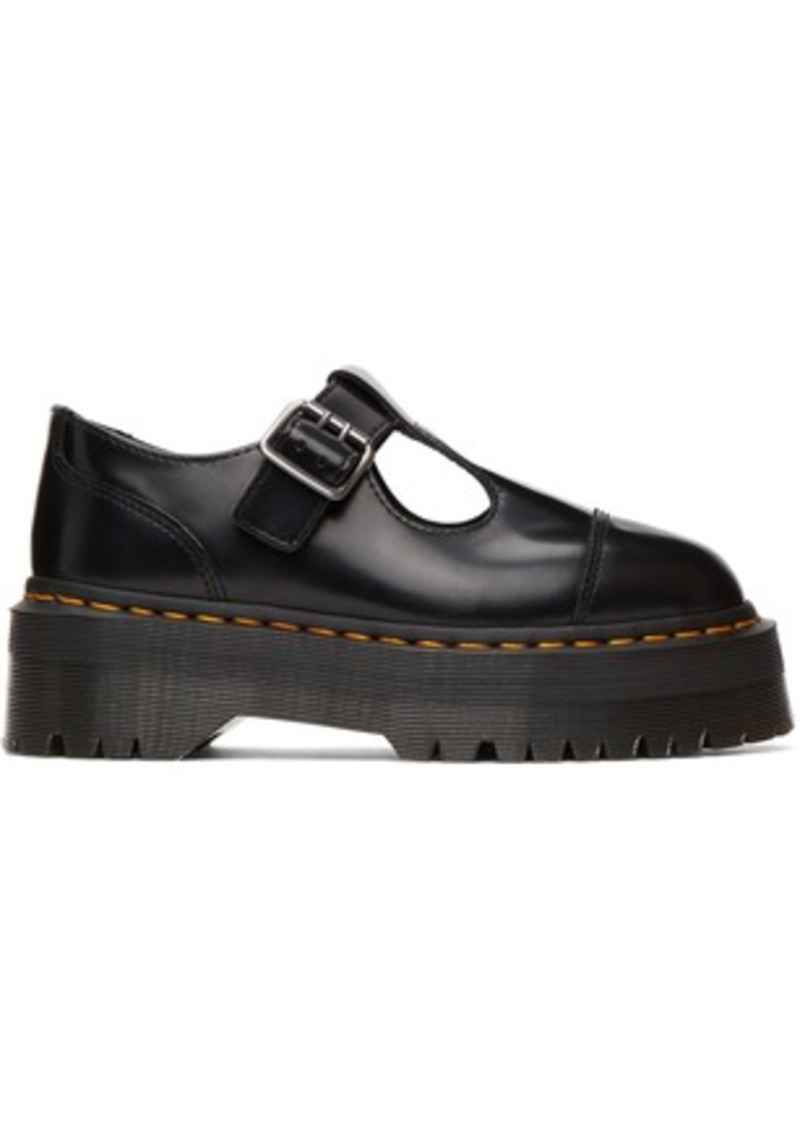 Black Leather Pulley Mary-Janes