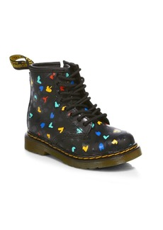 Dr. Martens Little Girl's & Girl's 1460 Heart-Print Leather Boots