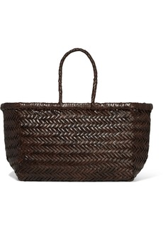 Dragon Bamboo Triple Jump Small Woven Leather Tote
