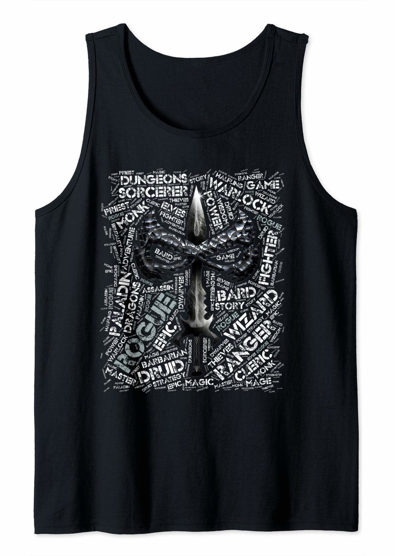 Dragon DND Rogue Word Art Classes Tabletop Game Group Tank Top