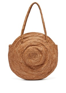Dragon Diffusion Round woven-leather basket bag