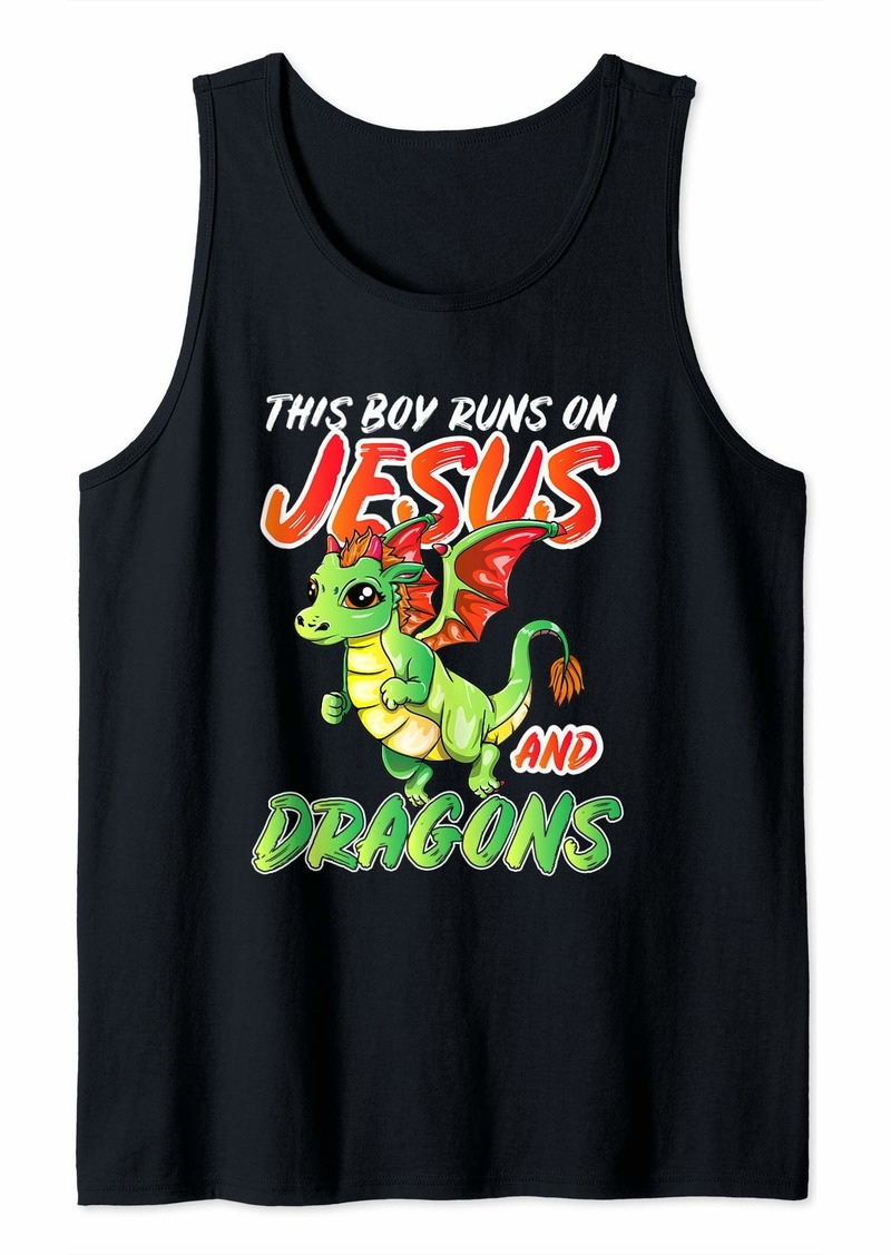 This Boy Runs On Jesus And Dragons For Kids Men Tank Top