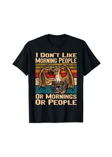 Vintage I Dont Like Morning People Grumpy Dragon Coffee T-Shirt
