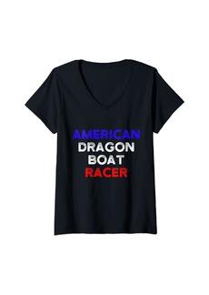 Womens Dragon Boat Racing Boating Race Racer V-Neck T-Shirt