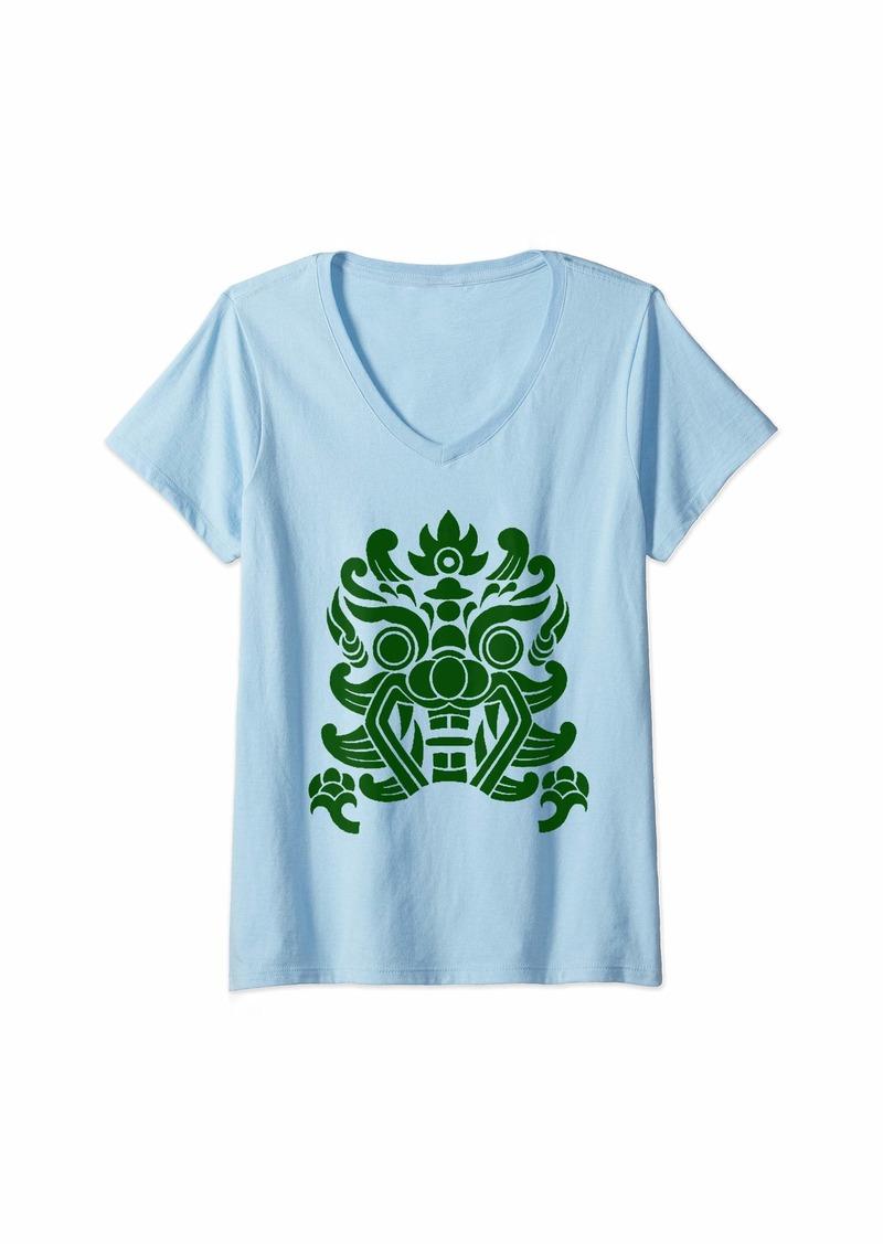 Womens Dragon Face V-Neck T-Shirt