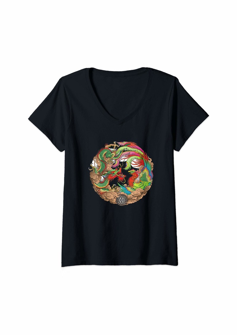 Womens Dragon Mandala - Yoga Wyvern Drake Meditate V-Neck T-Shirt