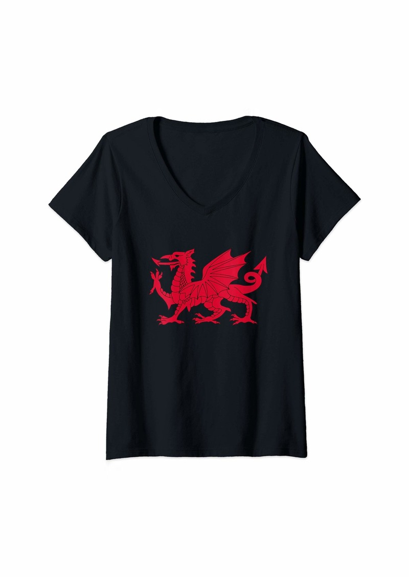 Womens Dragon of Wales Flag Welsh Cymru Flags Medieval Welsh Rugby V-Neck T-Shirt