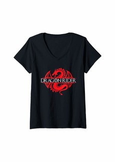 Womens Dragon Rider Funny Cosplay Dragon Lovers V-Neck T-Shirt