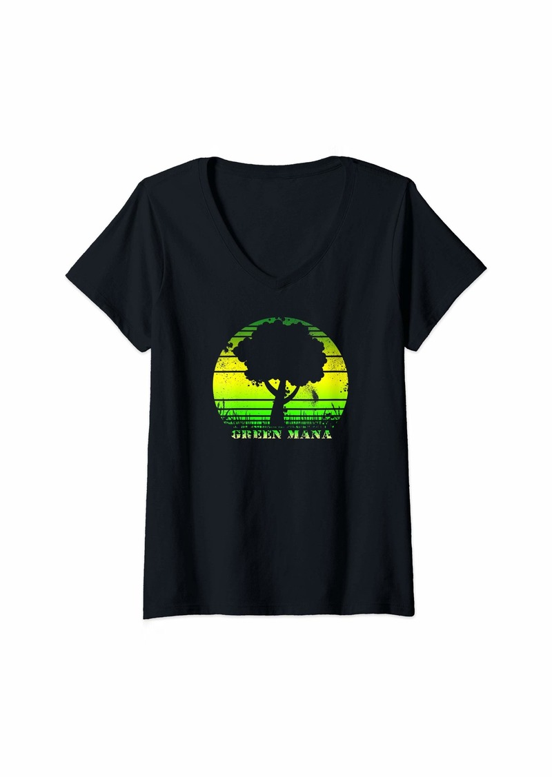 Dragon Womens Gathering of Magic Green Tree Mana Vintage 80s Game RPG Gift V-Neck T-Shirt