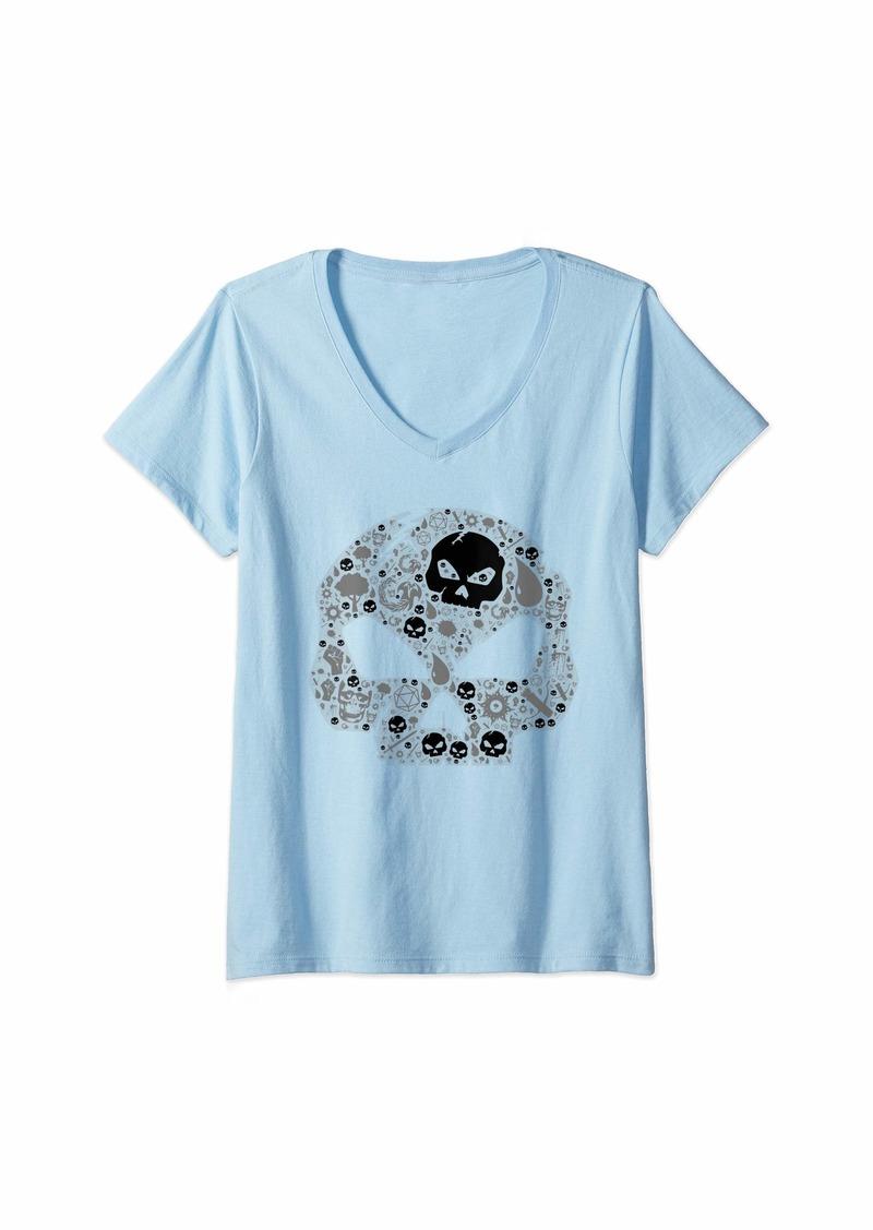 Dragon Womens Gathering of Magic RPG Black Skull Mana Tabletop Game Gift V-Neck T-Shirt