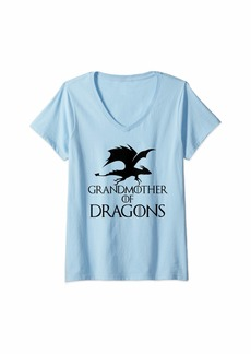 Womens Grandmother of Dragons V-Neck T-Shirt