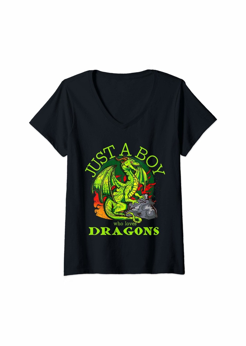 Womens Just A Boy Who Loves Dragons Fantasy Graphic Design Gift V-Neck T-Shirt