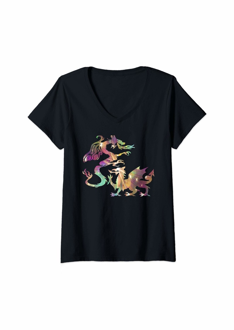 Dragon Womens The Holy Quadruple Animal V-Neck T-Shirt