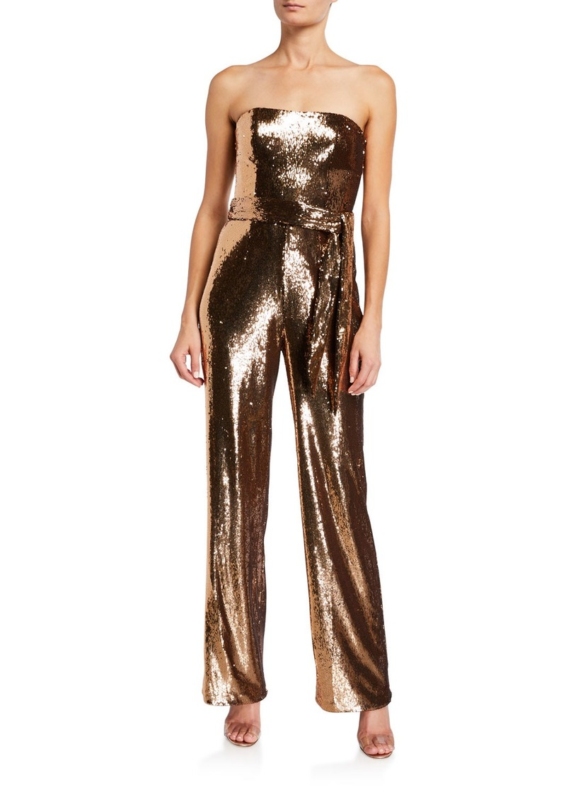Dress the Population Andy Strapless Belted Sequin Jumpsuit